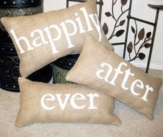 Happily Ever After Burlap Pillow Wedding Engagement Decoration 3pc Set - We Do Custom Pillows. $49.00, via Etsy.