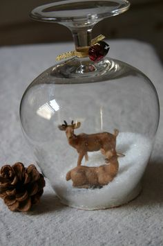 Stemware snow globes from Family Chic.