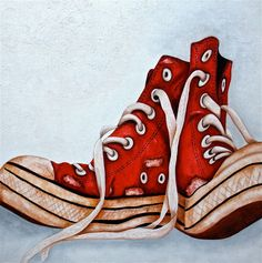 Art Print,  Old Sneakers, Sports Shoes, Red Sneakers  from Original Still Life Oil Painting   by k Madison Moore - pinned by pin4etsy.com