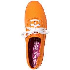 Keds Champion Ox Sneaker ($25) ❤ liked on Polyvore featuring shoes, sneakers, orange, orange shoes, laced shoes, lace up shoes, orange sneakers and grommet shoes