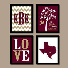 Texas State Custom Family Monogram Initial LOVE Bird by TRMdesign