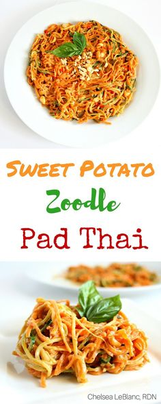 Sweet Potato Zoodle Pad Thai - Chelsea's Choices This simple Sweet Potato Zoodle Pad Thai is ready in under 30 minutes and has all the flavors you know and love from the classic Pad Thai. Potato Zoodle Pad Thai - Chelsea's Choices This simple Sweet Pot Sweet Potato Recipes, Veggie Recipes, Asian Recipes, Whole Food Recipes, Vegetarian Recipes, Cooking Recipes, Healthy Recipes, Sweet Potato Spiralizer Recipes, Vegan Zoodle Recipes