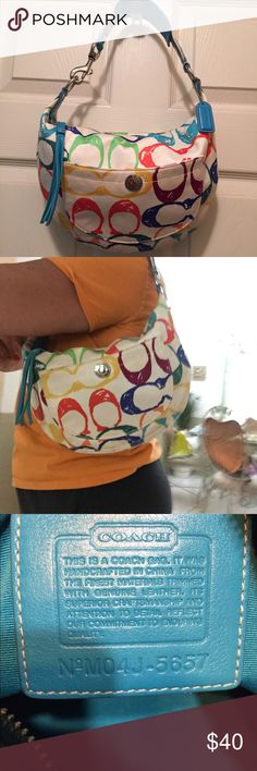 Coach Bag Authentic small coach hobo bag, multicolored in excellent condition, perfect for a teenager or student. Coach Bags Hobos