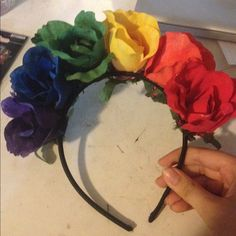 Rainbow flower crown Good for gay pride events. Or festivals Accessories Hair Accessories