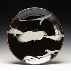 "Warren MacKenzie | large platter - stoneware, nuka over tenmoku glaze |  3.75""x 19.5""x 19.5"""