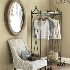 Just ordered this Crawford Coat Rack by Ballard Designs. I am going to use it as a portable closet s Makeshift Closet, Portable Closet, Slatted Shelves, Storage Center, Hanging Rail, Mirror Hanging, Ballard Designs, My Living Room, Living Area