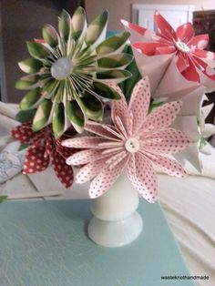 Holiday Bouquet handmade paper flowers in vintage milk glass vase by WasteKnotHandmade, $55.00