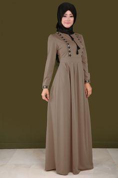 Nakışlı Önü Bağcık Detay Elbise Vizon Ürün kodu: MDB3780 --> 89.90 TL