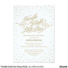 twinkle little star fancy gold u0026 white baby shower card