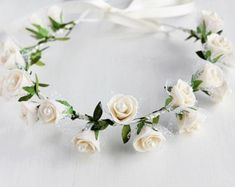 Baby's Breath & Rose Crown Flower Girl Crown by NoviaBellaTS