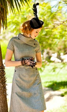Panthera Wool Fold Over Collar A-Line Dress with Short Sleeves and Pockets...love this ;)