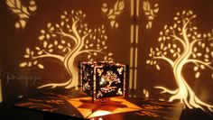 Decorative wood lasercut oak tree shadow lamp by pranayadesign