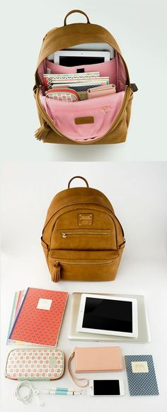 A stylish leather backpack that's perfect for school. Rain-proof exterior, a built-in cushioned laptop pocket, 10 other pockets for storage, and tons of room for books and school supplies. Check out all 5 super cute colors! My Bags, Purses And Bags, Mode Hipster, Mode Style, School Supplies, Just In Case, Back To School, College, Shoe Bag