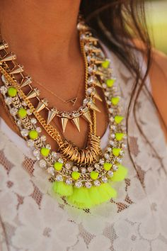 stacked necklaces! spikes, hoops, and neon yellow Oh MY!