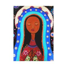 virgin,virgen,mexican,lady,guadalupe,mama,mary,immaculate,immaculada,sale,prisarts,flowers,florals,gifts,vibrant,folk,art,painting
