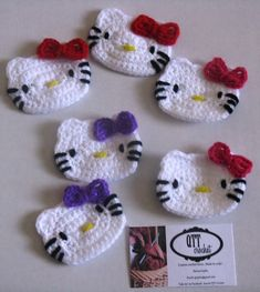 Hello Kitty Crochet Patterns Free Felted Balls From Scrap Yarn Crochet Scarf Cherry Pompom ScarfHello Kitty faces (ornaments or magnets)Crochet Hello Kitty Booties would be nice handmade gifts. Love Crochet, Crochet For Kids, Crochet Flowers, Crochet Crafts, Yarn Crafts, Crochet Projects, Diy Crafts, Appliques Au Crochet, Crochet Motif