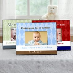 """Love the color and the argyle! These are the Classic Argyle Personalized Baby Frames from PMall - you can personalize them with the baby's name and birthday and a line of anything you'd like ... we love the """"Thank Heaven For Little Boys"""" example! It's only $24.95 ... cute as a baby gift! #Baby #argyle"""