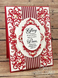 The Stamp Simply Ribbon Store - Merry Christmas - designed by Sheri Holt Ribbon Store, Christmas Cards, Merry Christmas, Spellbinders Cards, Christmas Hanukkah, Die Cut Cards, Winter Trees, Christmas Design, Clear Stamps