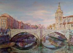 Puente de San Antón, Bilbao / St.Antón bridge,Bilbao watercolour by Jose Mª Sanchez, Granada , Spain. Available bpbilbao@gmail.com