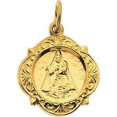 14kt Yellow Gold 12.14x12.09mm Caridad del Cobre Medal | 1.17 Grams | Jewelry Series: R16986