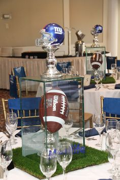 NY Giants Centerpieces for Football Bar Mitzvah by The Event of a Lifetime - mazelmoments.com Cowboy Centerpieces, Football Centerpieces, Bar Mitzvah Centerpieces, Bar Mitzvah Themes, Banquet Centerpieces, Bar Mitzvah Party, Dallas Cowboys Party, Cowboys Win, Cowboys Memes