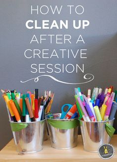 Tips and tricks for cleaning up after a creative play session Art Activities For Kids, Craft Projects For Kids, Creative Activities, Art For Kids, Creative Play, Craft Ideas, Art Projects, Deco Kids, Tips & Tricks