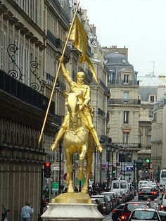 Joan of Arc immortalized in the Place des Pyramides in Paris, France.