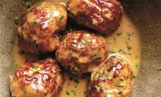 Sausage balls, mustard and cream sauce recipe (as well as some other Nigel Slater recipes) NOTE: apparently the copyright expires on the Guardian, recipe is no longer online Sausage Meat Recipes, Mince Recipes, Pork Recipes, Cooking Recipes, Savoury Recipes, Meatball Recipes, Sausage Balls, Sausage Meatballs, Nigel Slater