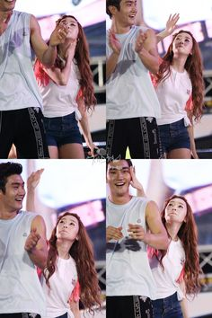 Jessica (SNSD) takes her revenge on Siwon (SuJu). He started the battle because he wiped his sweat on her arm. Super Junior, Heechul, Eunhyuk, Kpop Couples, Cute Couples, Korean Celebrities, Celebs, Choi Siwon, Cute Kawaii Animals