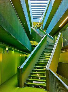 Mechatronik, Johannes Kepler University, Linz, Austria Johannes Kepler, Stairway, Staircases, Austria, Caramel, University, School, Building, Design
