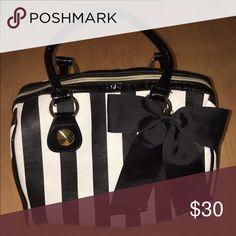 black & white stripe Betsey Johnson bag black & white striped Betsey Johnson bag with black bow. Bags