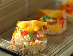Languettes de mangue au crabeVoir la recette des Languettes de mangue au crabe