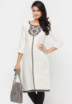 White Kurta, Saris, Printed Cotton, Tunic Tops, Prints, Women, Fashion, Moda, Sarees