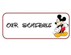 Schedule Cards with Mickey Mouse