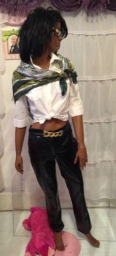 CATALYST New York black crocodile  polyvinyl cotton  sz 4 womens  pants  #CATALYST #DressPants