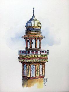 Original Architecture Painting by Saqib Akhtar Mughal Architecture, Architecture Tattoo, Architecture Wallpaper, Historic Architecture, Original Art, Original Paintings, Islamic Paintings, Buch Design, Islamic Art Calligraphy