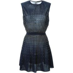 Roberto Cavalli beaded flared dress (60.930 RUB) ❤ liked on Polyvore featuring dresses, blue, blue fit-and-flare dresses, blue beaded dress, flare dress, beaded dress and flared dresses