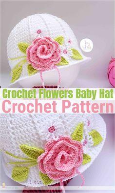 Crochet Flowers Baby Hat Childrens Crochet Hats, Crochet Baby Hats, Crochet Clothes, Free Crochet, Crochet Hat Pattern Kids, Crochet Patterns, Crochet Flowers, Fun Projects, Charity