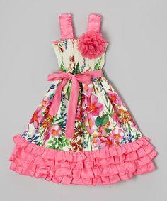 Look at this #zulilyfind! Rose Floral Shirred Ruffle Dress - Girls #zulilyfinds