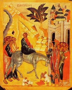 Palm Sunday icon - Jesus' entry into Jerusalem Byzantine Icons, Byzantine Art, Early Christian, Christian Art, Jerusalem, End Of Lent, Hosanna In The Highest, Michael Church, Life Of Christ