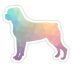 Rottweiler Colorful Geometric Pattern Silhouette - Breed Collection  by TriPodDogDesign