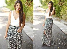 Zara White Crop Top, Pac Sun Maxi Floral Print Skirt