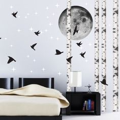 Birds Wallpaper Decal Sticker - Black Bird Decals - Bird Wall Stickers - Bird Decals - Bird Wallpaper - Livingroom Bird Decals - Primedecals