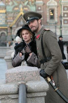 Kivanc Tatlitug as Seyit and Farah Zeynep Abdullah as Sura -their first outing in St. Petersburg, Russia.