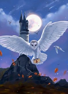 The third theme of Harry Potter challenge is Owl Post. West Tower and flock of owls are flying on their duties. Hedwig Harry Potter, Fanart Harry Potter, Harry Potter Poster, Harry Potter Tumblr, Wallpaper Harry Potter, Harry Potter Painting, Harry Potter Artwork, Harry Potter Drawings, Harry Potter Pictures