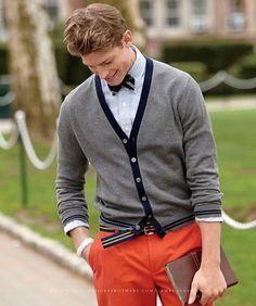 orange pants and grosgrain belt.