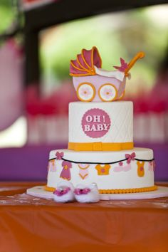Project Nursery - Pink and Orange Tiered Baby Shower Cake