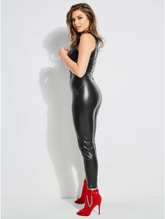 Sandra Zip-Front Moto Jumpsuit at Guess Leather Jumpsuit, Leather Pants, Hot Outfits, Fashion Outfits, Womens Fashion, Fashion Top, Mode Latex, Shiny Leggings, Badass Style