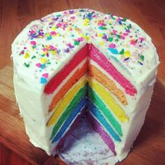 Rainbow cakes, looks and tastes amazing. It's not as hard as you would think. x