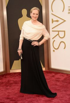 Meryl Streep in a black-and-white gown on the Oscars red carpet. #AcademyAwards